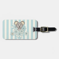 Baby Koala Pastel Blue Striped Personalized Kids Travel Bag Tag