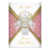 Baby Shower Girl White Pink Princess Damask Card