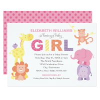 Baby Shower Invitation | Jungle Animals for Girl