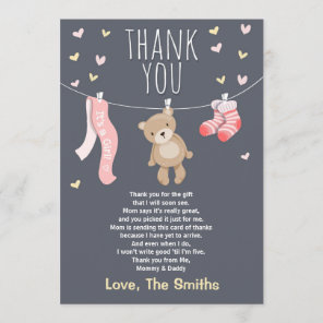 Baby Shower Thank You Card Teddy Bear pink girl