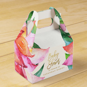 Baby Shower   Tropical Watercolor Flower Thank You Favour Box