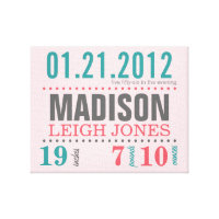 Baby's Birth Date Details Canvas Print