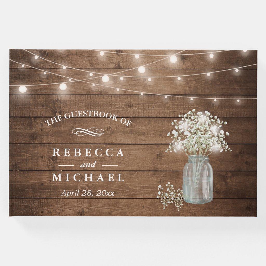 Baby's Breath Mason Jar Rustic Wood Lights Wedding Guest Book