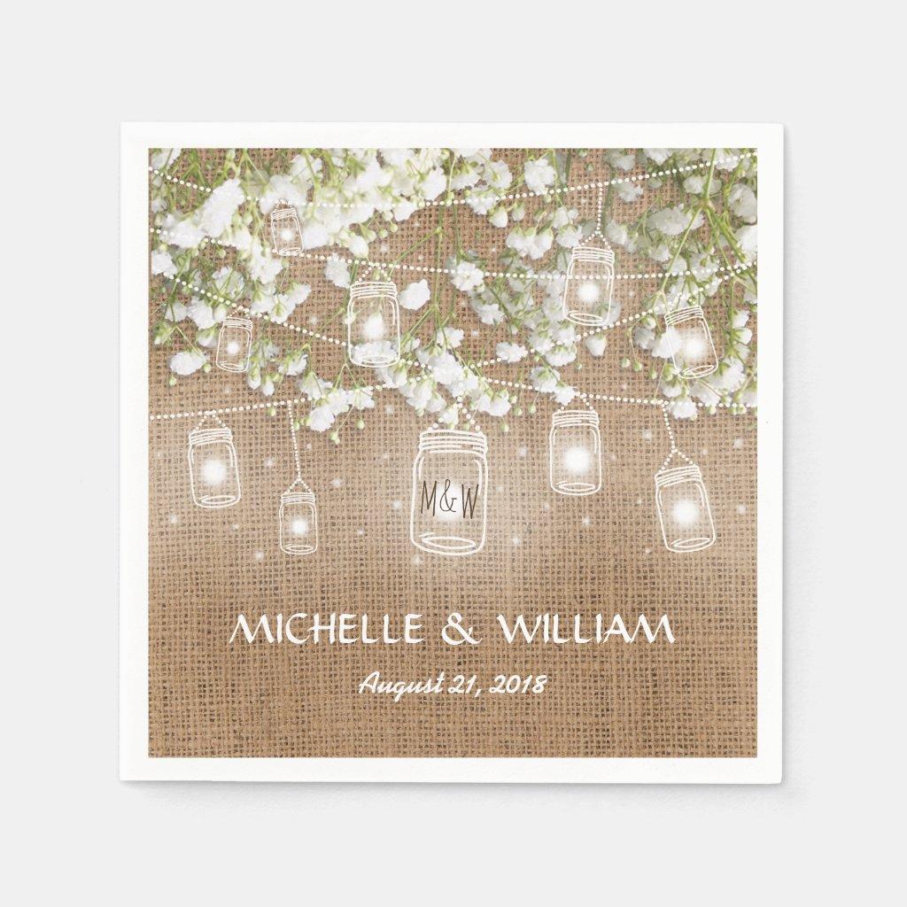 Baby's Breath Rustic Burlap Wedding Paper Napkin