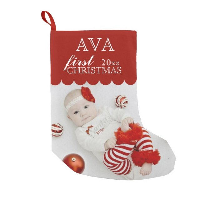 Baby's First Christmas PHOTO STOCKING