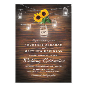 Backyard Rustic Mason Jar Sunflower Lights Wedding Invitation