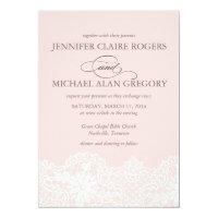 Ballet Pink Lace Wedding Invitation
