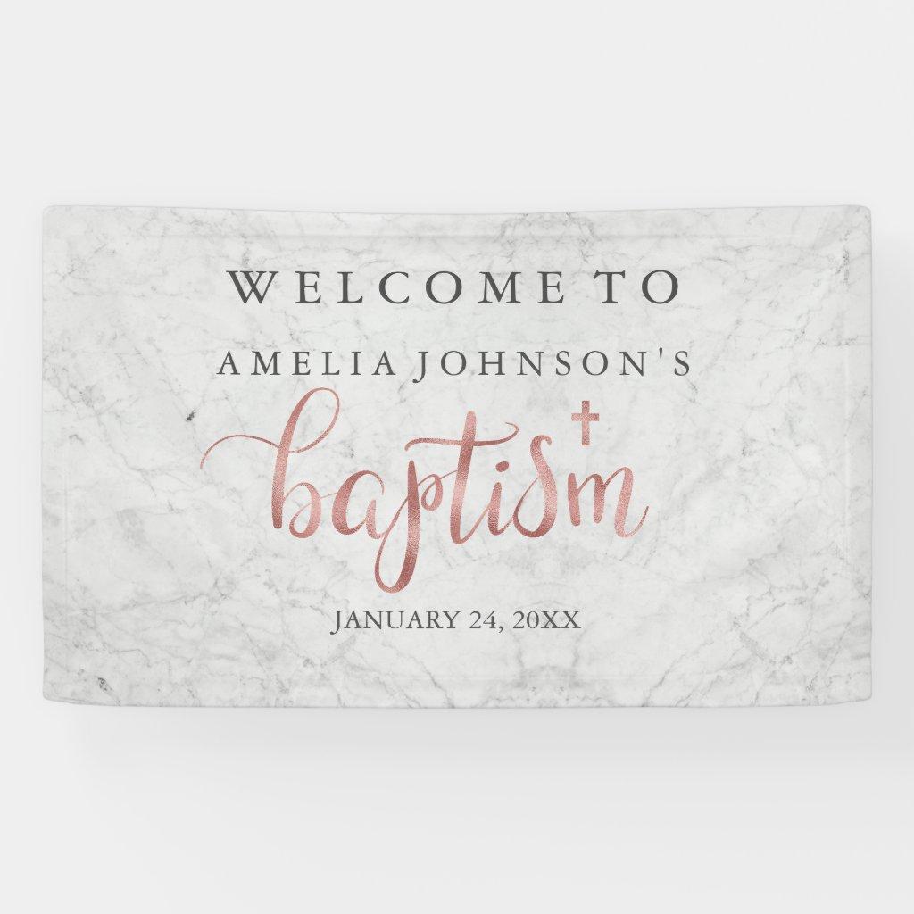 Baptism Banner Marble Rose Gold