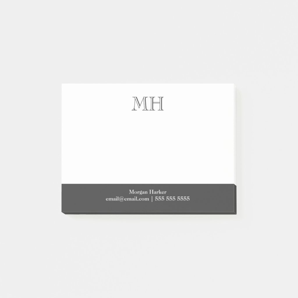 Basic Clean Initials White Grey Post It Notes