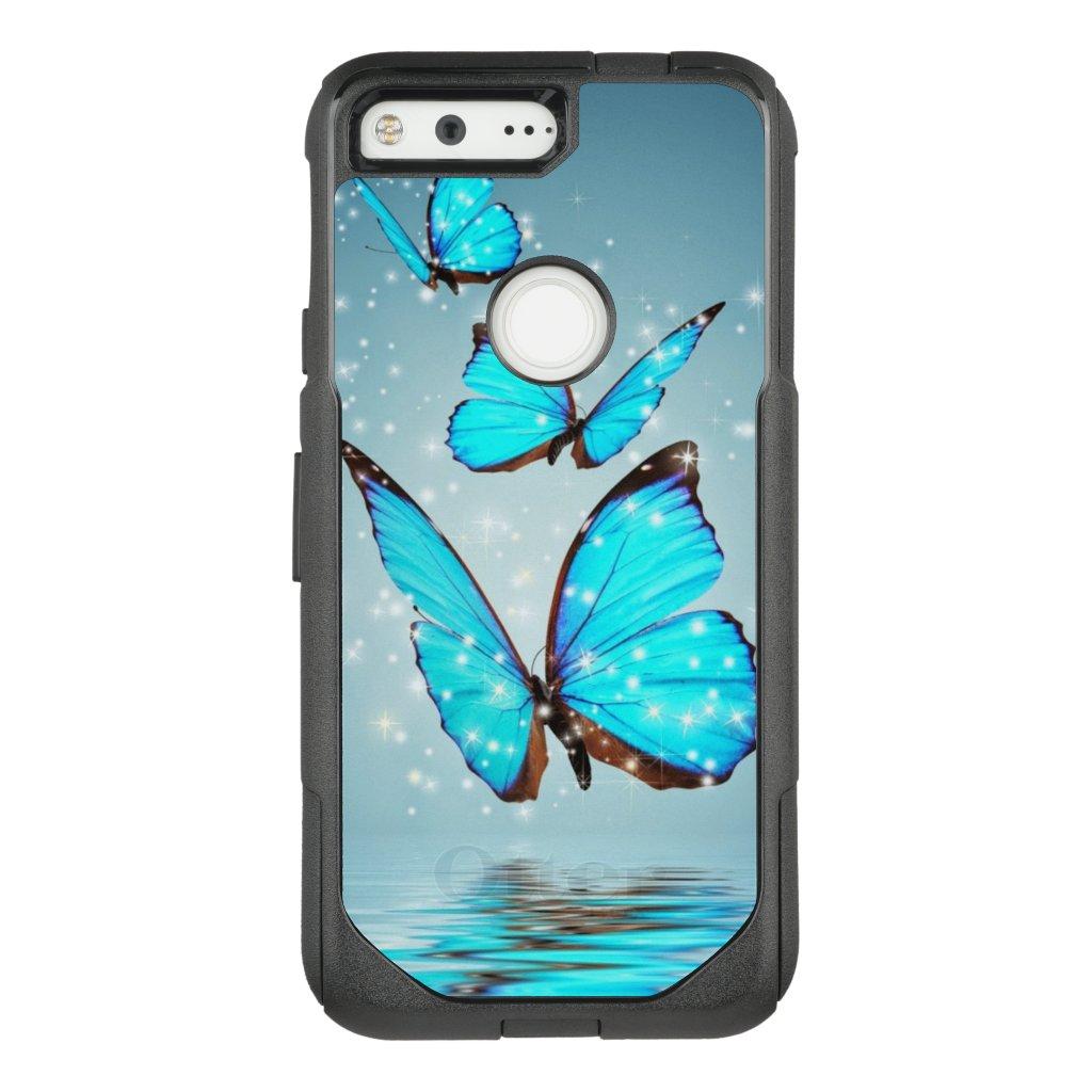 beautiful blue  butterflies OtterBox commuter google pixel case