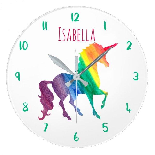 Rainbow Unicorn Personalised Clock