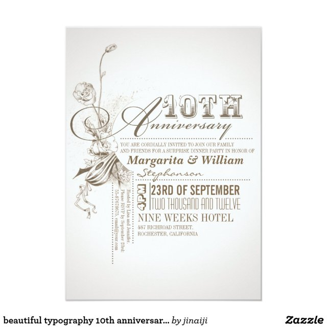 Beautiful 10th anniversary invitations
