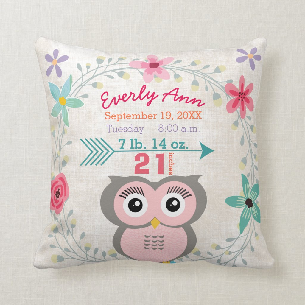 Birth Stats Owl Cushion