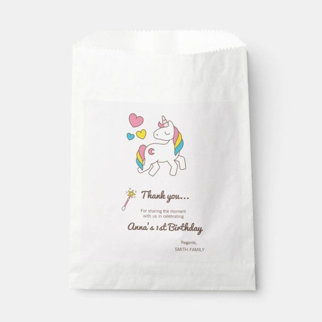 Birthday. Cute Unicorn with Cute Hearts Favour Bag