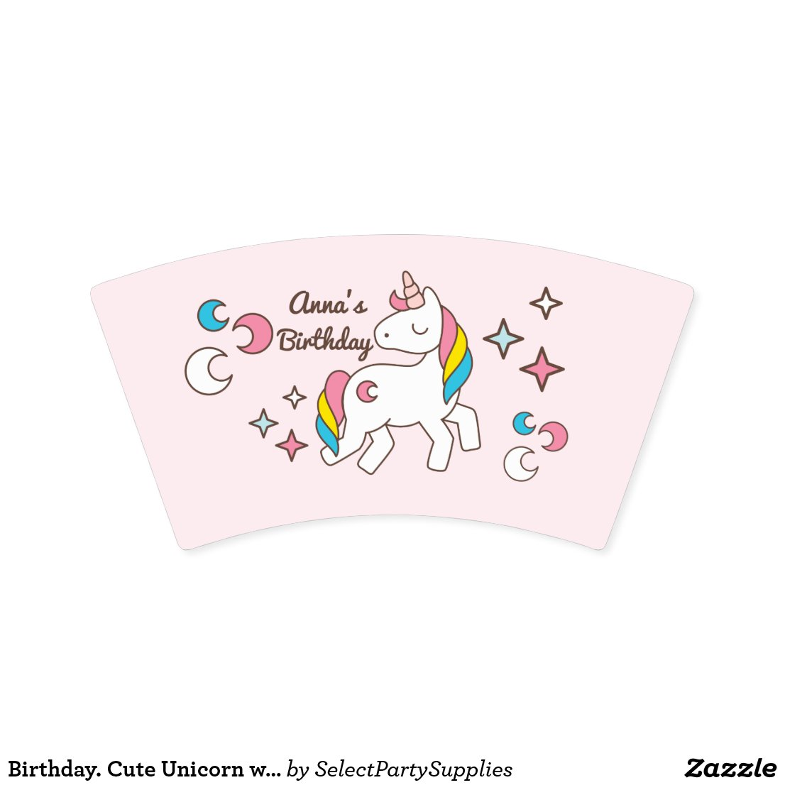 Birthday. Cute Unicorn with Sparkles & Crescents Paper Cups