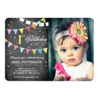 Birthday Party | 1st Birthday Flags Chalkboard Card