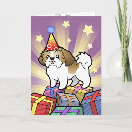 Birthday Shih Tzu Puppy Cut Card Zazzle Co Uk