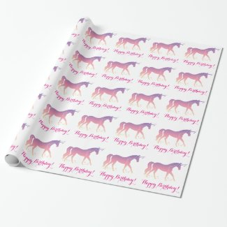 Birthday: Unicorn and Stars in Silhouette Wrapping Paper