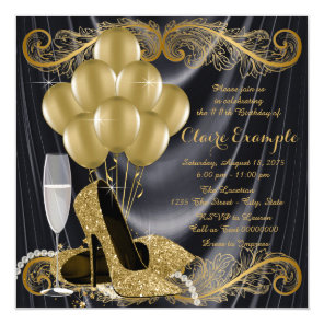 Black and Gold Birthday Party Hollywood Glamour Card