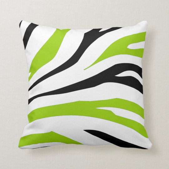 Black And Lime Green Zebra Stripes Print Pillow Zazzle Co Uk