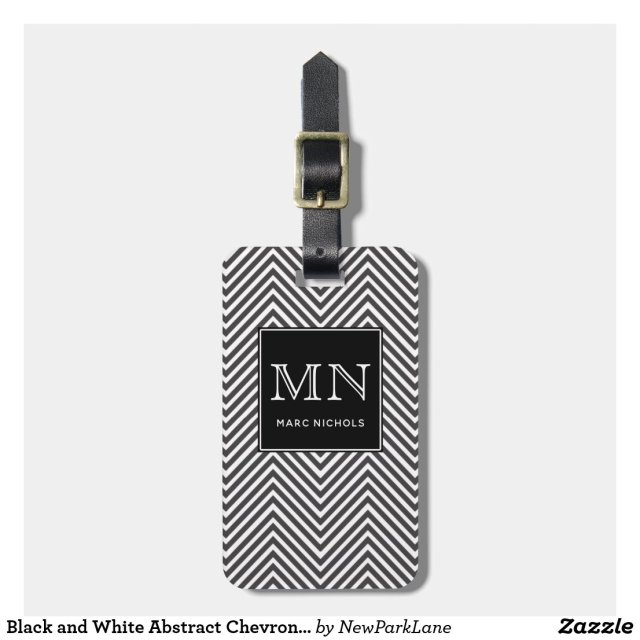Black and White Abstract Chevron Pattern Monogram Luggage Tag