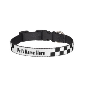 Black and White Chequerboard Chequered Flag Pet Collar