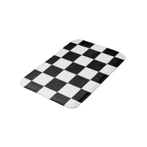 Black And White Chequered Chequerboard Pattern Bath Mat