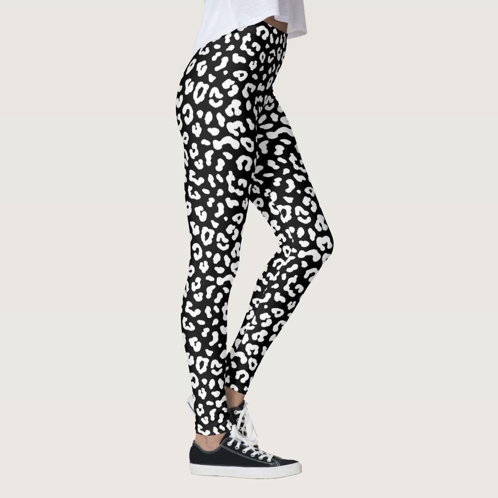 Black and White Leopard Print Leggings