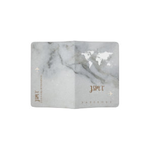 black and white marble passport holder