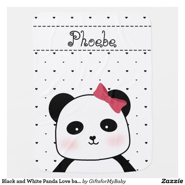 Black and White Panda Love Blanket