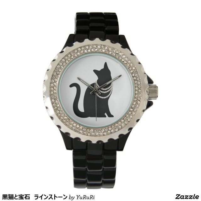 Black cat and jewel line stone Watch