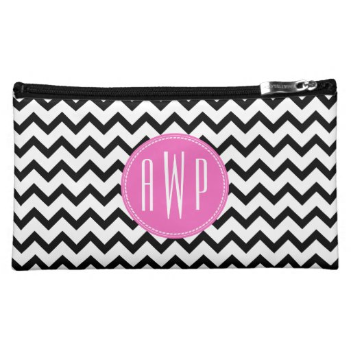 Black Chevron Pink Monogram Cosmetic Bag