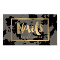 Black Floral Gold Text Nail Salon Gray Business Card