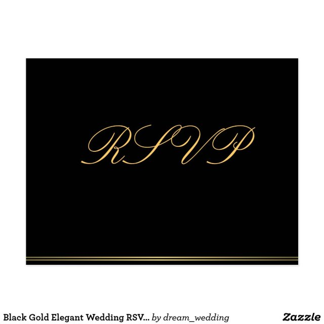 Black Gold Elegant Wedding RSVP Postcards