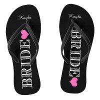 Black/Pink Heart Bride's Flip Flops