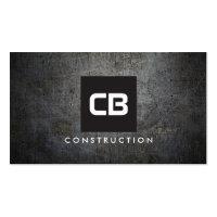 Black Square Monogram Grunge Metal Construction Business Card
