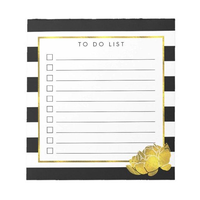 Black Stripe & Faux Gold Peony To Do List