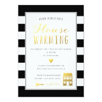 Black Stripes Gold Housewarming Party Invitation