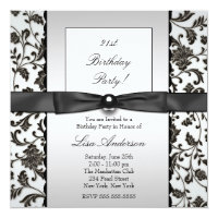 Black Tie Damask Womans 21st Birthday Party Card