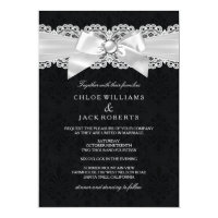 Black & White Damask & Pearl Bow Wedding Invite