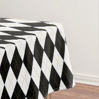 Black | White | Gold Argyle Pattern Tablecloth