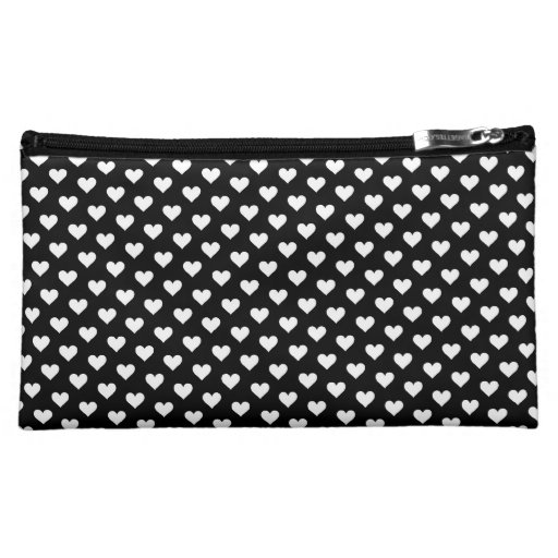 Black & White Heart Pattern Cosmetics Bag
