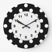 Black White Large Polka Dot Pattern Large Clock