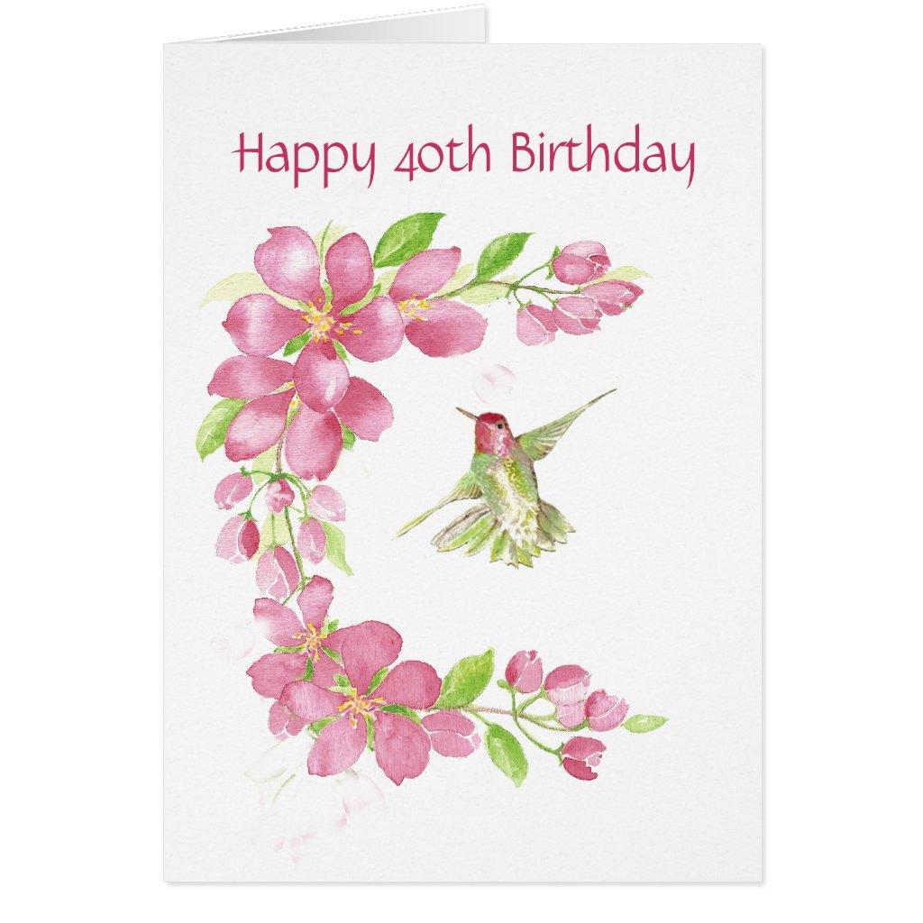Blank 40th Birthday Cherry Blossom & Hummingbird Birthday Card