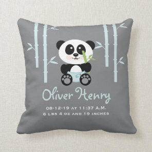 Blue Bamboo Panda Baby Announcement Pillow