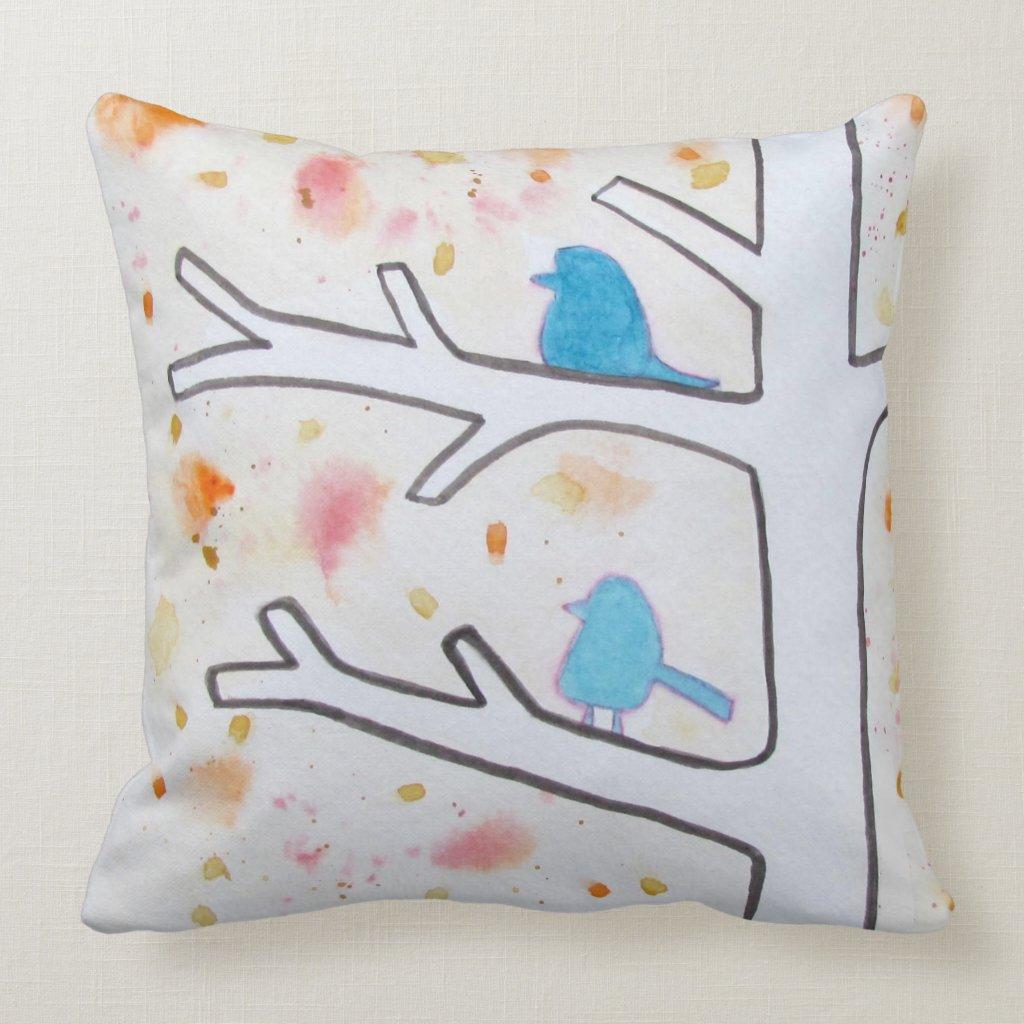 Blue Birds Perched in a Tree Modern Cushion