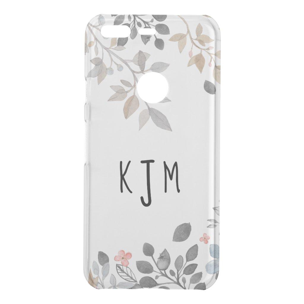 Blue & Grey Floral Monogram Phone Cover