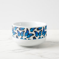 Blue Monarch Butterfly Pattern Soup Bowl With Handle