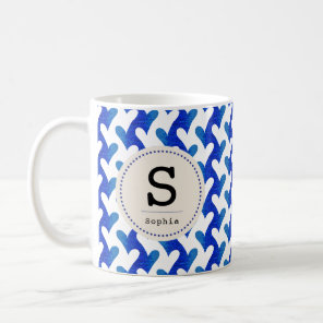 Blue Sea Heart Pattern with modern Monogram Coffee Mug