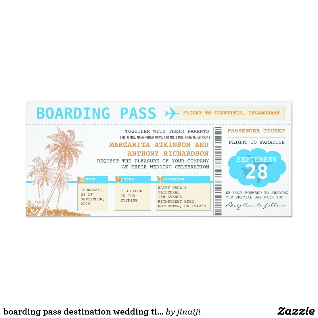 boarding pass destination wedding tickets